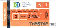 Одноразовый билет, полный. Билет действителен только в пределах пригорода (зона II)