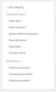 Регистрация в doz.pl - меню