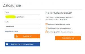 Вход в doz.pl через Facebook.com